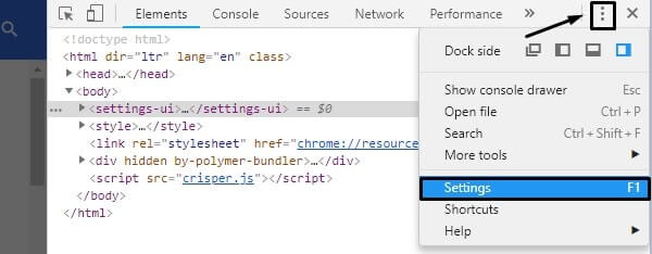 DevTools Settings