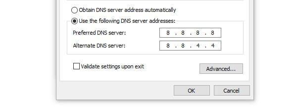 IPv4 Google DNS