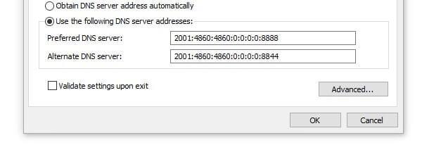 IPv6 Google DNS