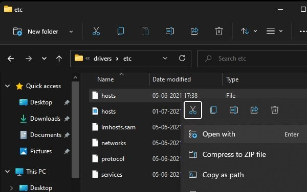 Open hosts file in notepad