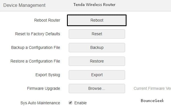 Reboot Wireless Router