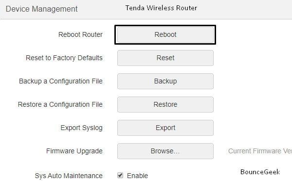 Reboot Wireless Router