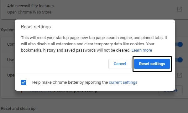 Reset Chrome Browser Settings