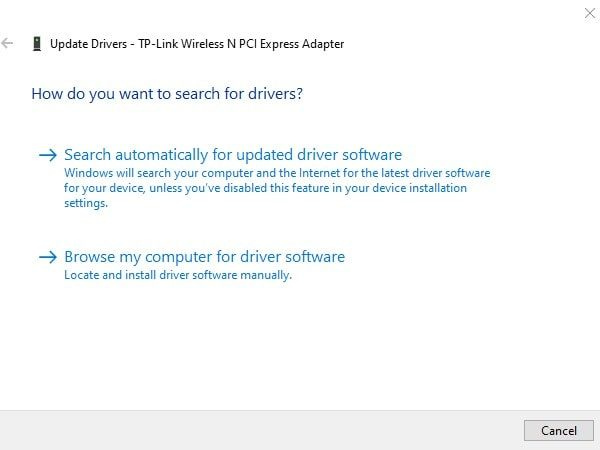 Search Automatically for Wireless Adapter Driver - No Internet Secured