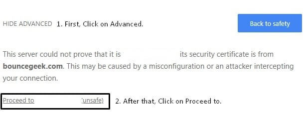 Use Advanced Option to fix Your Connection is Not Private