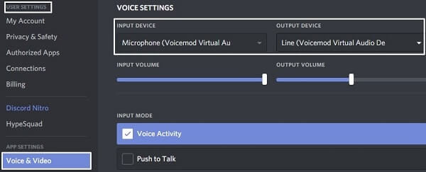 VoiceMod Discord Settings