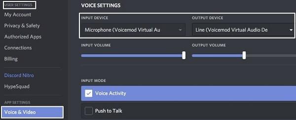 VoiceMod Discord Settings