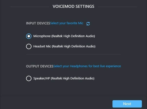 VoiceMod Input Output Device Settings