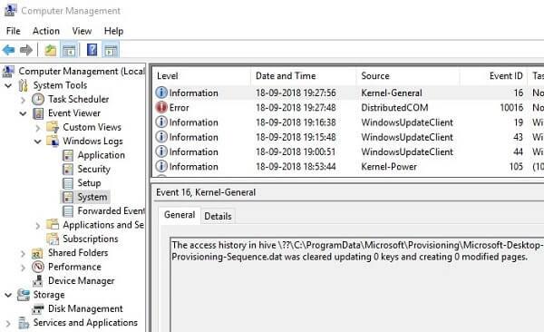 Windows Error Logs
