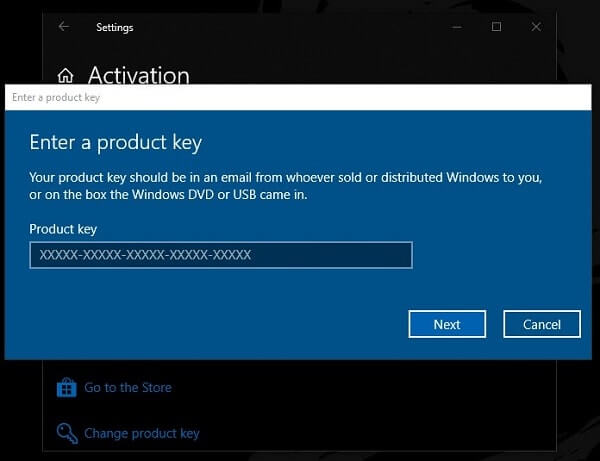 Activate Windows - Enter a product key