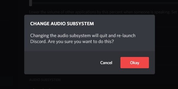 Change Audio Subsystem Confirmation