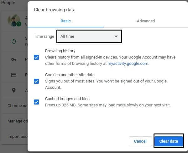 Clear Browsing Data Chrome Browser