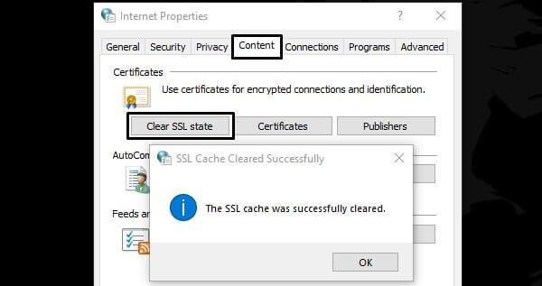 Clear SSL State - ERR_SSL_VERSION_INTERFERENCE