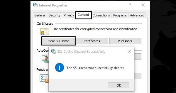 Clear SSL State - ERR_SSL_PROTOCOL_ERROR