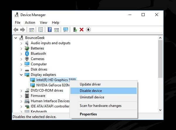 Disable Onboard Graphics Card Driver