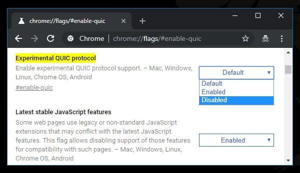 Disable QUIC Protocol - ERR_SSL_PROTOCOL_ERROR