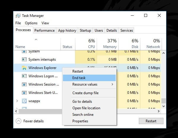 End Windows Explorer Task