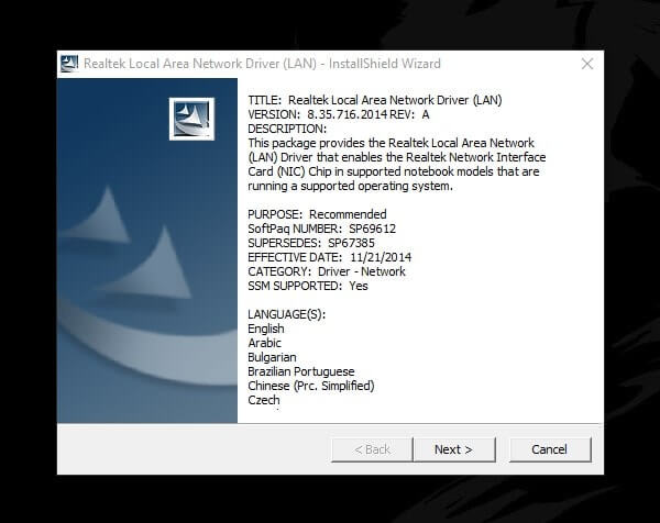 Ethernet doesn't have a valid IP configuration - Install LAN Driver