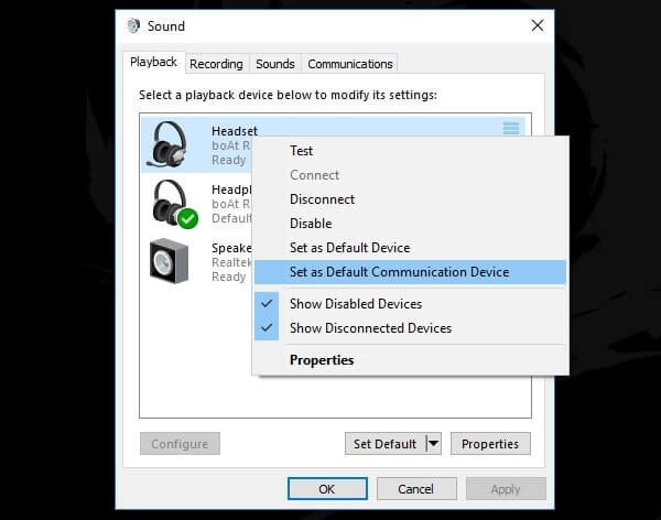 Set as Default Communication Device