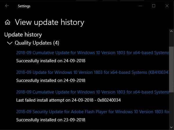 View Update History