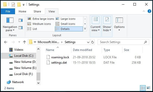 Delete roaming settings files