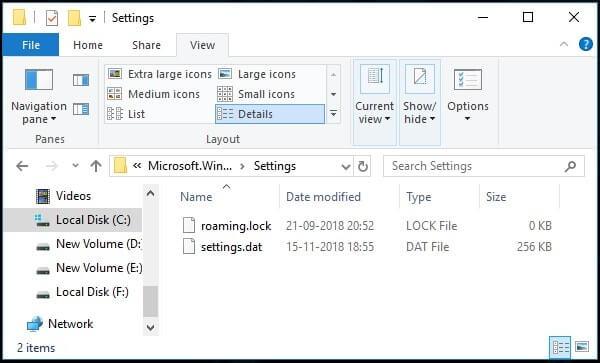 Delete roaming settings files