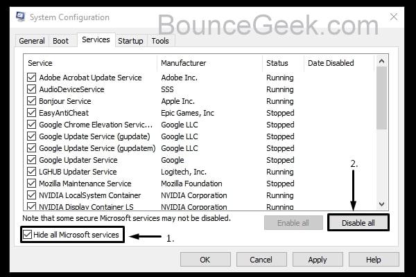 Disable All Non-Microsoft Services
