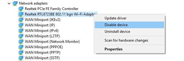 Disable WiFi Adapter driver