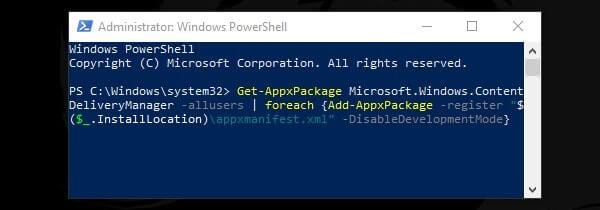 Re-Register Windows Spotlight