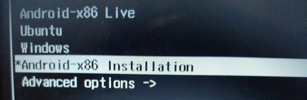 Select Android-x86 Installation