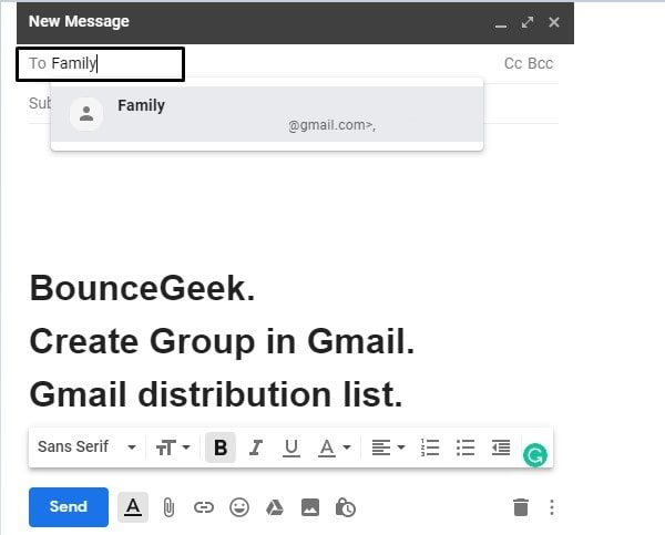 Compose Email using Gmail Mailing List