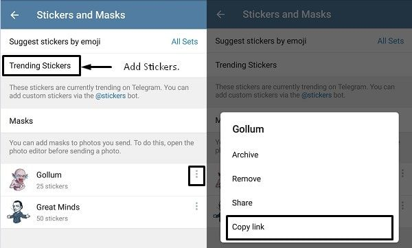Copy Stickers Pack Link