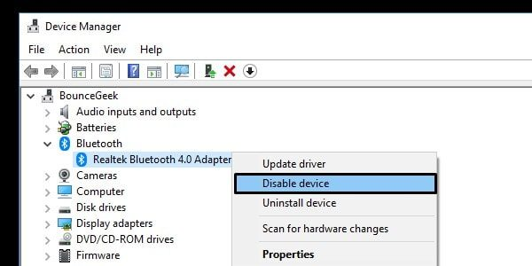 Disable Bluetooth Adapter Device