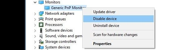 Disable Generic PnP Monitor Driver