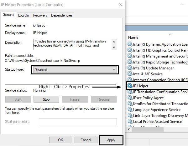 Disable IP Helper