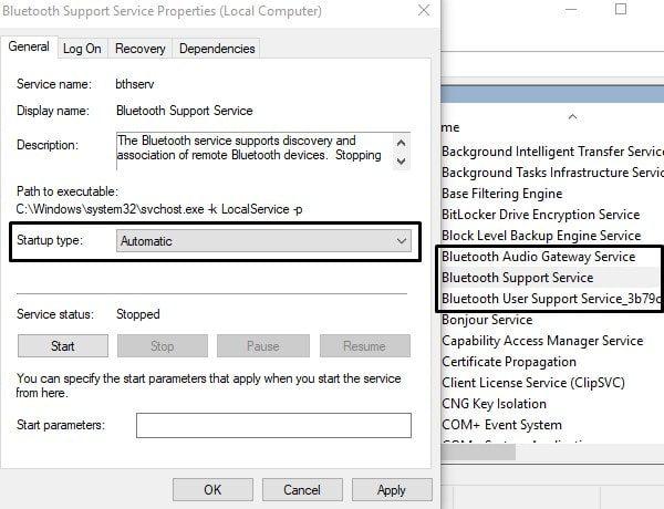 Fix Bluetooth Services