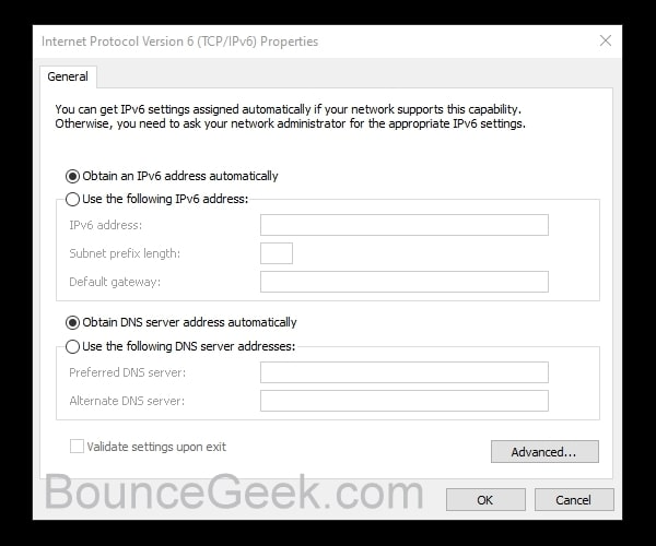 IPv6 Obtain IP addresses automatically - IPv6 No Internet Access