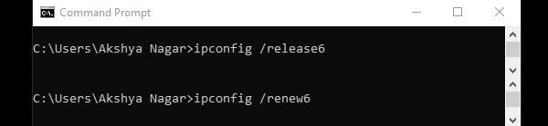 Release and Renew IPv6