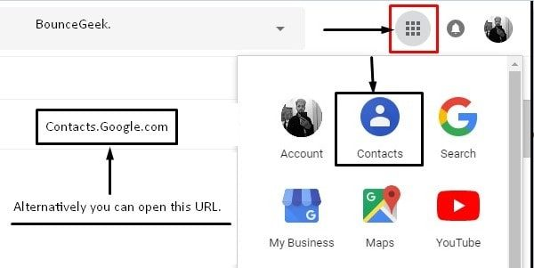 Select Contacts App from Google Apps
