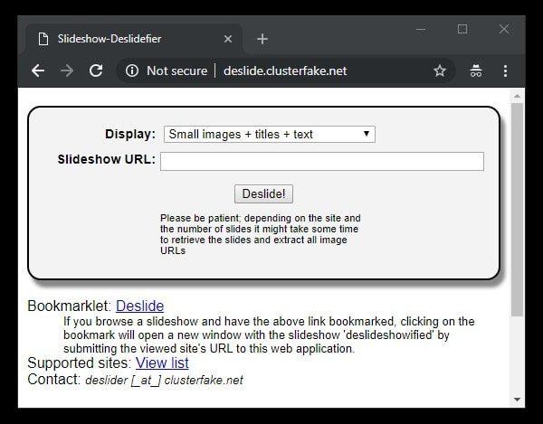 Slideshow Deslidefier