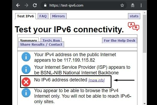 Test your IPv6 connectivity