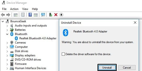 Uninstall Bluetooth Driver
