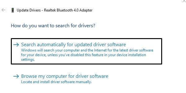 Update Bluetooth Driver Software