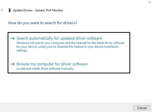 Update Drivers Window of Generic PnP Monitor