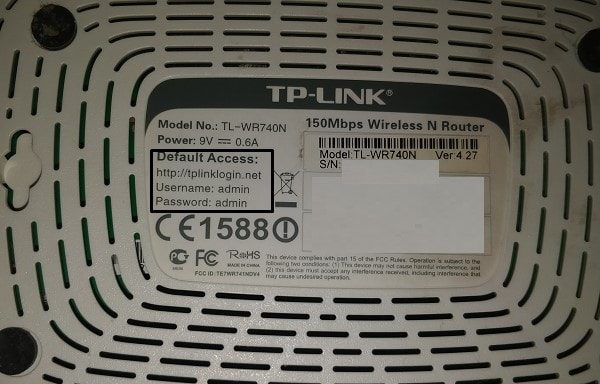 Default Access Information of Router