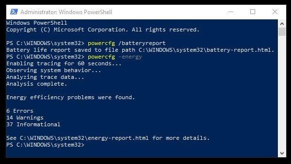 Generate Battery Report