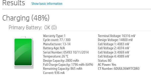 HP laptop battery health check