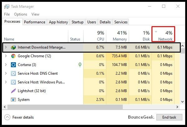 Network Usage Task Manager