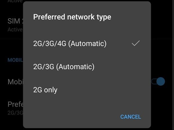 Preferred Network Type 4G