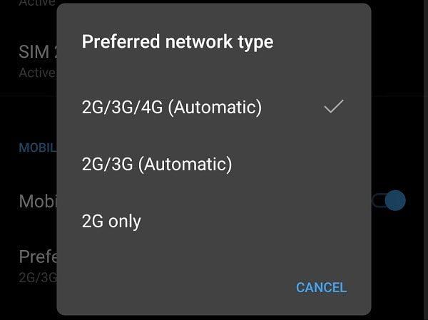 Preferred Network Type 4G